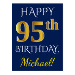 [ Thumbnail: Blue, Faux Gold 95th Birthday + Custom Name Postcard ]