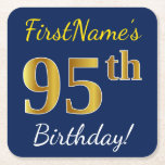 [ Thumbnail: Blue, Faux Gold 95th Birthday + Custom Name Paper Coaster ]