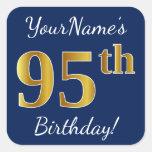 [ Thumbnail: Blue, Faux Gold 95th Birthday + Custom Name Sticker ]