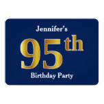 [ Thumbnail: Blue, Faux Gold 95th Birthday Party + Custom Name Invitation ]