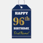 [ Thumbnail: Blue, Faux Gold 96th Birthday + Custom Name Gift Tags ]