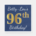 [ Thumbnail: Blue, Faux Gold 96th Birthday + Custom Name Paper Napkin ]