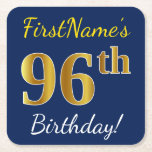 [ Thumbnail: Blue, Faux Gold 96th Birthday + Custom Name Paper Coaster ]