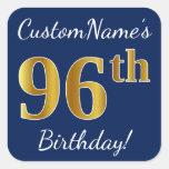 [ Thumbnail: Blue, Faux Gold 96th Birthday + Custom Name Sticker ]