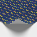 [ Thumbnail: Blue, Faux Gold 96th (Ninety-Sixth) Event Wrapping Paper ]