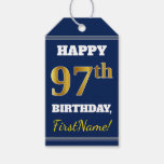 [ Thumbnail: Blue, Faux Gold 97th Birthday + Custom Name Gift Tags ]