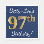 [ Thumbnail: Blue, Faux Gold 97th Birthday + Custom Name Paper Napkin ]