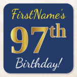 [ Thumbnail: Blue, Faux Gold 97th Birthday + Custom Name Paper Coaster ]