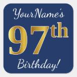 [ Thumbnail: Blue, Faux Gold 97th Birthday + Custom Name Sticker ]