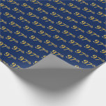 [ Thumbnail: Blue, Faux Gold 97th (Ninety-Seventh) Event Wrapping Paper ]