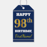 [ Thumbnail: Blue, Faux Gold 98th Birthday + Custom Name Gift Tags ]