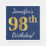 [ Thumbnail: Blue, Faux Gold 98th Birthday + Custom Name Paper Napkin ]