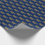 [ Thumbnail: Blue, Faux Gold 98th (Ninety-Eighth) Event Wrapping Paper ]