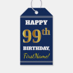 [ Thumbnail: Blue, Faux Gold 99th Birthday + Custom Name Gift Tags ]