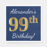 [ Thumbnail: Blue, Faux Gold 99th Birthday + Custom Name Paper Napkin ]