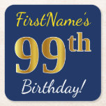 [ Thumbnail: Blue, Faux Gold 99th Birthday + Custom Name Paper Coaster ]