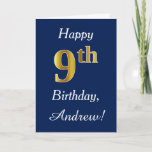 [ Thumbnail: Blue, Faux Gold 9th Birthday + Custom Name Card ]