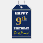 [ Thumbnail: Blue, Faux Gold 9th Birthday + Custom Name Gift Tags ]