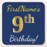 [ Thumbnail: Blue, Faux Gold 9th Birthday + Custom Name Paper Coaster ]