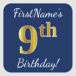 [ Thumbnail: Blue, Faux Gold 9th Birthday + Custom Name Sticker ]