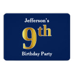 [ Thumbnail: Blue, Faux Gold 9th Birthday Party + Custom Name Invitation ]