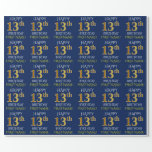 "[ Thumbnail: Blue, Faux Gold ""Happy 13th Birthday"" Wrapping Paper ]"