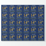 "[ Thumbnail: Blue, Faux Gold ""Happy 14th Birthday"" Wrapping Paper ]"