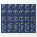 "[ Thumbnail: Blue, Faux Gold ""Happy 17th Birthday"" Wrapping Paper ]"