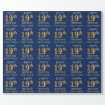 "[ Thumbnail: Blue, Faux Gold ""Happy 19th Birthday"" Wrapping Paper ]"