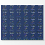 """[ Thumbnail: Blue, Faux Gold """"Happy 1st Birthday"""" Wrapping Paper ]"""