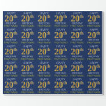 "[ Thumbnail: Blue, Faux Gold ""Happy 20th Birthday"" Wrapping Paper ]"