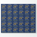 "[ Thumbnail: Blue, Faux Gold ""Happy 26th Birthday"" Wrapping Paper ]"
