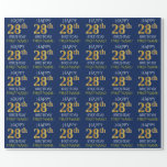 "[ Thumbnail: Blue, Faux Gold ""Happy 28th Birthday"" Wrapping Paper ]"