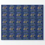 "[ Thumbnail: Blue, Faux Gold ""Happy 41st Birthday"" Wrapping Paper ]"