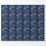 "[ Thumbnail: Blue, Faux Gold ""Happy 47th Birthday"" Wrapping Paper ]"