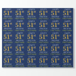 "[ Thumbnail: Blue, Faux Gold ""Happy 51st Birthday"" Wrapping Paper ]"