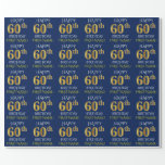 "[ Thumbnail: Blue, Faux Gold ""Happy 60th Birthday"" Wrapping Paper ]"