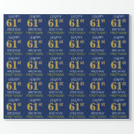"[ Thumbnail: Blue, Faux Gold ""Happy 61st Birthday"" Wrapping Paper ]"