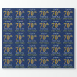 "[ Thumbnail: Blue, Faux Gold ""Happy 70th Birthday"" Wrapping Paper ]"