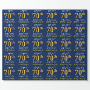 Blue Faux Gold HAPPY 70th BIRTHDAY Wrapping Paper