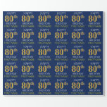 "[ Thumbnail: Blue, Faux Gold ""Happy 80th Birthday"" Wrapping Paper ]"