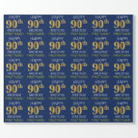 "[ Thumbnail: Blue, Faux Gold ""Happy 90th Birthday"" Wrapping Paper ]"