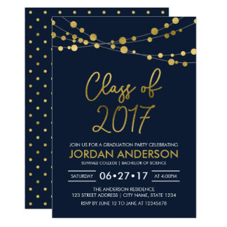 Blue Faux Gold Lights Class of 2017 Grad Party Card