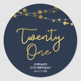 Blue Faux Gold Strings of Lights 21st Birthday Classic Round Sticker