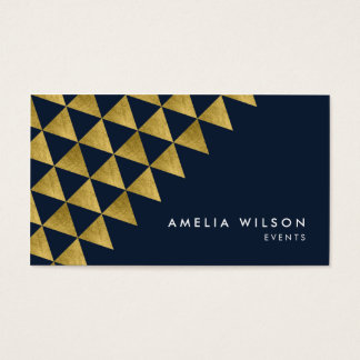 Blue Faux Gold Triangles Events Social Media Business Card