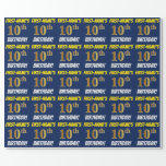 """[ Thumbnail: Blue, Faux/Imitation Gold, """"10th Birthday"""" Wrapping Paper ]"""