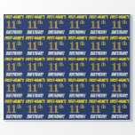 """[ Thumbnail: Blue, Faux/Imitation Gold, """"11th Birthday"""" Wrapping Paper ]"""