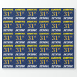 """[ Thumbnail: Blue, Faux/Imitation Gold, """"31st Birthday"""" Wrapping Paper ]"""