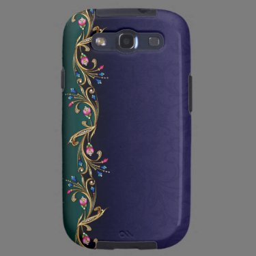 Blue & Faux Jewel Flowers Samsung Galaxy S3 Case