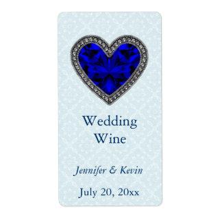 Blue Faux Jeweled Wedding Mini Wine Label Shipping Label